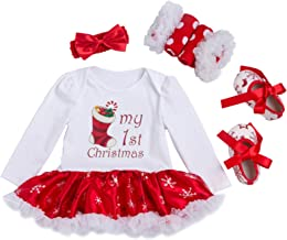 Happy Cherry Baby Girls Christmas Long Sleeves Tutu Dress Romper Outfit 4Pcs Set
