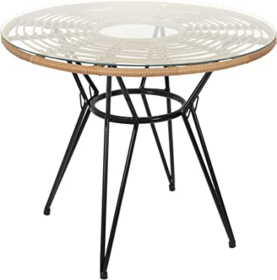HOME DECO FACTORY HD7238 Home Deco Factory-HD7238-Table de Repas Ronde Salle à Manger Salon, trempé, Noir-Naturel-Verre, 90x73x90 cm