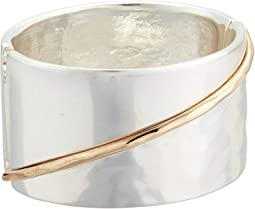Two-Tone Sculptural Wide Hinged Bangle Bracelet