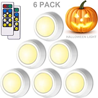 BIGLIGHT Closet Lights Battery Operated, Push Button Light, Tap Lights, Press Light, LED Puck Light, Remote Controlled, Dimmable Touch Light, Stick on Lights for Cabinet Counter Shelf, 6 Pack