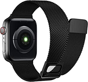 AdMaster Stainless Steel Magnetic Band Compatible with Apple Watch 42mm 44mm 45mm, Adjustable Milanese Magnet Metal Mesh Clasp Loop Strap Men Women for iWatch Series 7/6/5/4/3/2/1 SE 42/44/45 mm Black