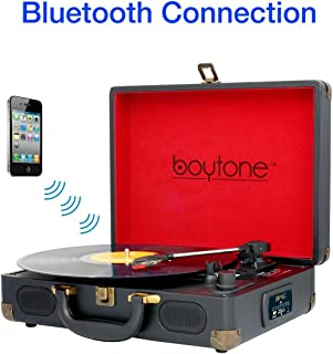 Boytone BT-101B Bluetooth Turntable Briefcase Record player AC-DC, Built in Rechargeable Battery, 2 Stereo Speakers 3-speed, LCD Display, FM Radio, USB/SD Slot, AUX / MP3, Encoding, 110 To 220 Volt