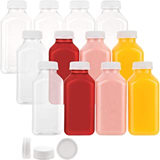 Disposable Plastic Juice Bottles 12 Oz with Lids | 24 Pack | for Water, Orange Apple Lemon Juicing, Smoothies, Milk, Reusa...