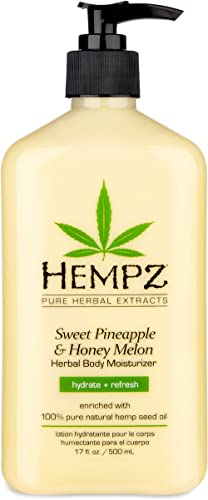 Hempz Natural Herbal Body Moisturizer: Sweet Pineapple & Honey Melon Skin Lotion, 17 oz