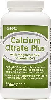 GNC Calcium Citrate Plus with Magnesium Vitamin D3-180 caplets