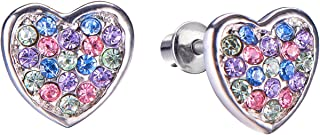 Screw Back Multicolored Heart Stud Earrings for Kids, Baby, Toddler, Little Girls with Surgical Steel Post for Ultra Sensitive Ears with Secure Safety Screwback