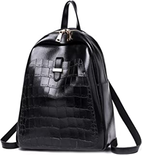 Leather New Women's Backpack Shoulder Wallet Wild Casual Retro Set Simple Female Backpack Waterproof (Color : Black, Size : M)