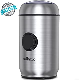 WANCLE Coffee Grinder Electric Coffee Mill with Smart Overheat Protection and Lid Safety Lock,Brushed Stainless Steel Housing Cleaner