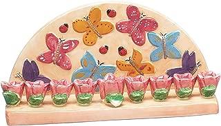 Hanukkah Menorah for Candles Butterfly for Chanukah Party Ceramic