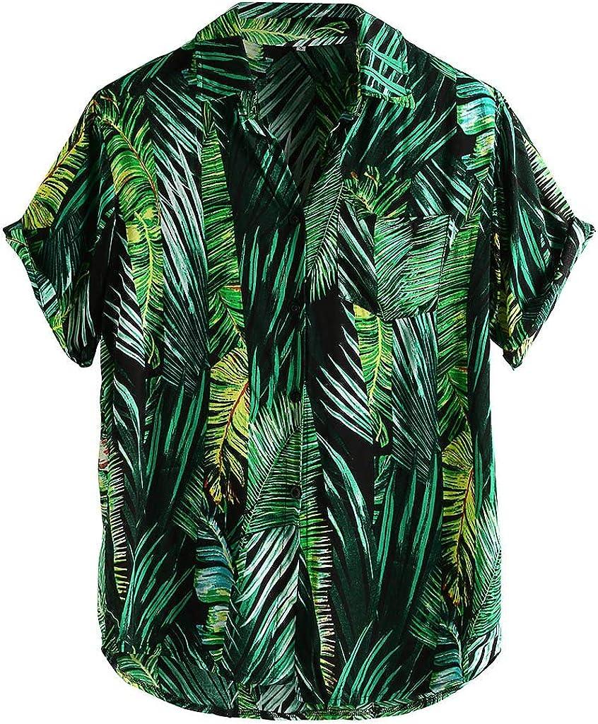 Xinantime Mens Printed Hawaiian Loose Beachwear Short Sleeve Casual Buttons Shirts