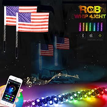 Polaris 1000 Maverick X3 Truck Flag Pole Antenna for RZR Can-Am Polaris UTV ATV Accessories Mothers Day 2PC 3FT RGB LED Whip Lights Spiral for UTV ATV Bluetooth Million Colors NF Flag