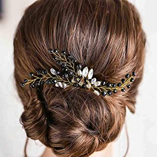 Fstrend Bridal Wedding Hair Comb Black Rhinestone Flower Bride Headpiece Sparkly Crystal Hair Accessories for Women and Girls