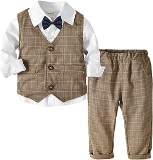4PC Baby Boy Outfit Toddler Clothes Set Formal Suit Tuxedo Shirt+Vest+Pant Set