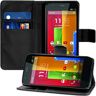 kwmobile Wallet Case for Motorola Moto G (1. Gen) - Protective PU Leather Flip Cover with Magnetic Closure, Card Slots and Kickstand