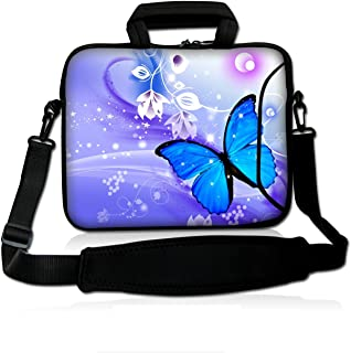 ICOLOR Colorfulbags Universal Blue Butterfly 13 Inch Laptop Netbook Shoulder Bag Case Messenger Cover with Extra Pocket for iPad and Most 13