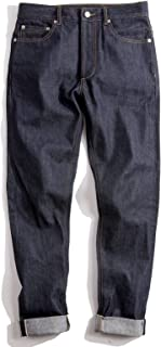 Men's 14.5oz Raw Selvedge Denim Jeans Indigo Regular Straight Fit