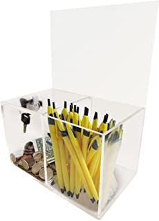 Donation Box - Collection Box - Tip Container - W/Two Compartments One Compartment Locked and Other Open for Give and Take...