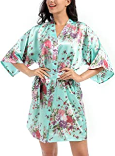 Lovacely Women's Floral Satin Robe for Bride and Bridesmaid Wedding Party Dressing Gown Short Silk Daffodil Kimono Sleepwear