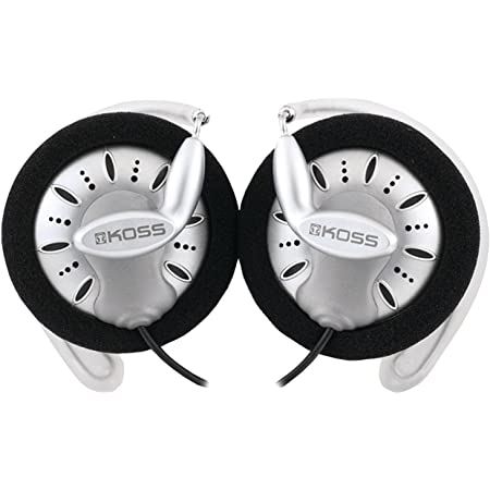 Koss KSC75 Portable Stereophone Headphones, Single, Standard Packaging White/Gray