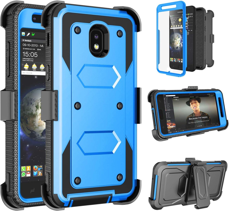 Tinysaturn Samsung Galaxy J3 2018 Case, for Galaxy J3 Eclipse 2/J3 Orbit/J3 Achieve Case, [Yvenus] Heavy Duty Shockproof Holster Belt [Built-in Screen Protector] Kickstand Cover - Blue