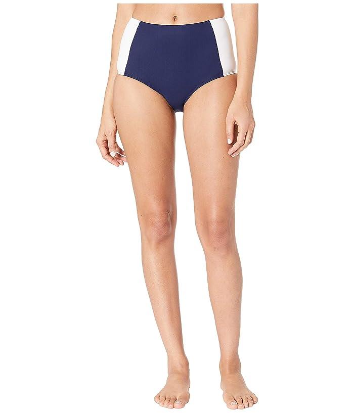 Tory Burch Swimwear Lipsi High-Waisted Bikini Bottoms (Navy/White) Women
