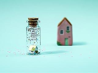 ''Hogar dulce hogar''.Mensaje en una botella. Miniaturas. Regalo personalizado. Divertida postal motivación.