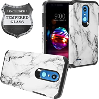 LG K30 LM-X410, Phoenix Plus X410AS, Harmony 2, Premier Pro LTE L413DL - Hybrid Image Hard Case + Tempered Glass Screen Protector - AD1 White Marble