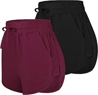 URATOT 2 Pack Cotton Yoga Short Women Summer Running Gym Sports Waistband Shorts with Pockets