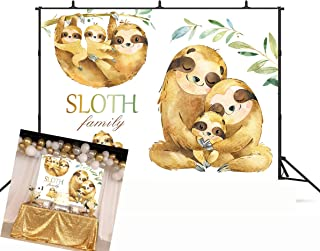 GYA 5x3ft Cute Sloth Family Invitation Backdrop Sloth Baby Shower Birthday Party Photography Background Sloth Party Supplies Banner Decoration