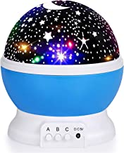Kids Star Night Light, 360-Degree Rotating Star Projector, Desk Lamp 4 LEDs 8 Colors Changing with USB Cable, Best for Chi...