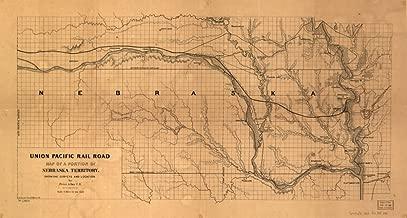 1865 Railroad map of Nebraska by Union Pacific RR Union Pacific Rail Road, of a