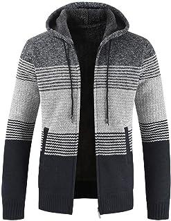 Cardigan Men Sweater Hoodie Blouse Striped Windbreaker Thick Zipper Warm Fleece-Lined Outwear Tops Coats Winter Autumn New...