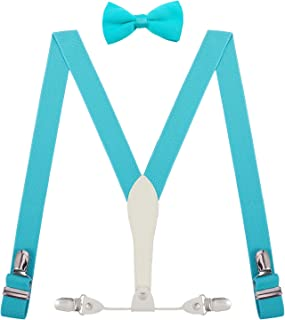 SUNNYTREE Mens Kids Bowtie and Suspenders Set Adjustable Leather Y Back