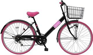 Lupinusルピナス 自転車 26インチ LP-266VTA シティサイクル LEDオートライト シマノ製外装6段ギア カラータイヤ 100%完成車