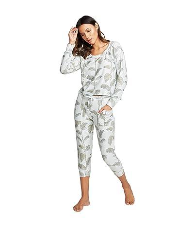 Chaser Cozy Knit Raglan Pullover (Minty Palms) Women