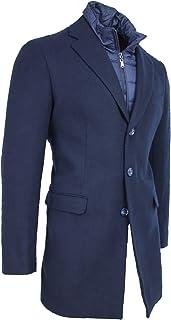 Cappotto Giaccone Uomo Blu Scuro Casual Elegante Invernale in Lana