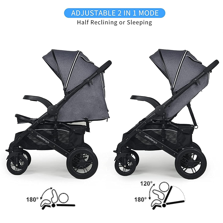 Infant Toddler Baby Umbrella Stroller - Sleeping & Sitting Mode 2 in 1 All Terrain High Landscape Shock Absorption Sunshade Comfortable Full Size Baby Stroller (Gray)