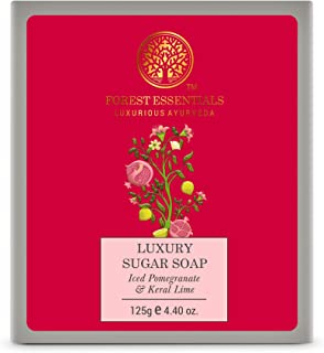 Forest Essentials Luxury Sugar Soap Iced Pomegranate & Kerala Lime 125g