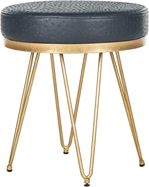 Safavieh Home Collection Jenine Faux Ostrich Navy Blue Round Bench