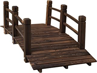Outsunny 5ft Wooden Garden Bridge Arc Stained Finish Walkway with Railings, Stained Wood