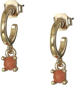 Small Stone Hoop Drop Earrings