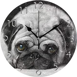 壁掛け時計 アクリル 雑貨 かけ時計 壁掛時計 掛け時計 時計 無音時計 連続秒針 静音 オシャレ 悲しいパグ