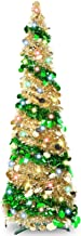 TURNMEON 5 Foot Pop Up Christmas Tinsel Tree with 50 Color Lights, Pre-lit Christmas Tree Decoration with Ball Ornaments B...