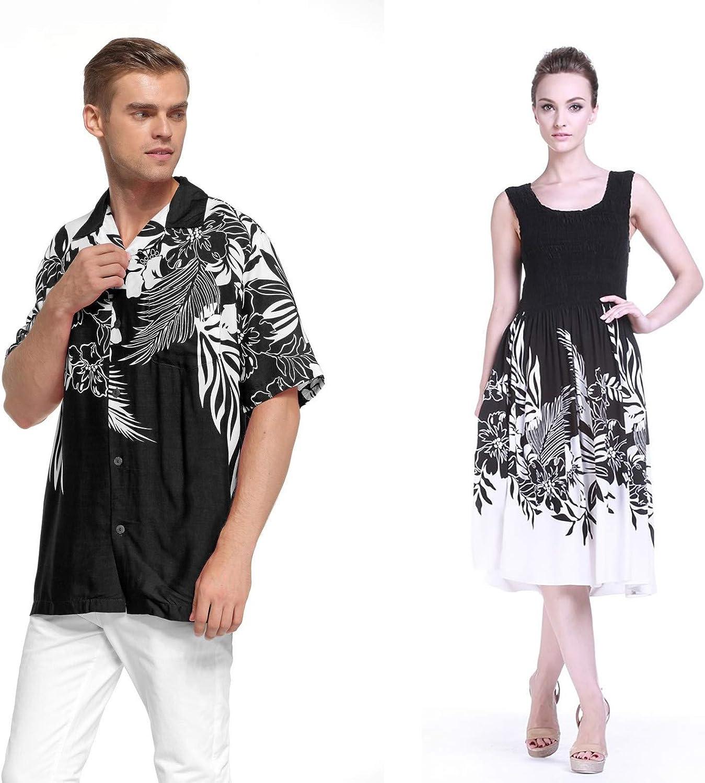 Couple Matching Hawaiian Luau Aloha Shirt Elastic Tank Dress in Indri 2 Colors