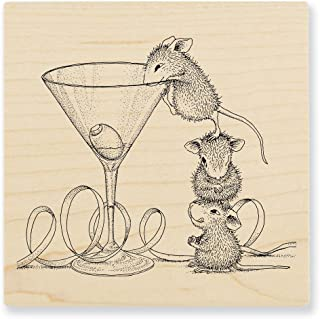 STAMPENDOUS Wood Handle Rubber Stamp, Martini Mice
