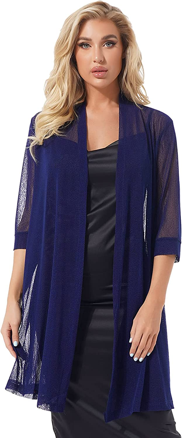 Aislor Women's Casual 3/4 Sleeve Open Front Cardigan Loose Sheer Kimono Sweater Cover Ups