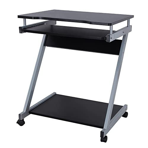VASAGLE Bureau mobile, Table informatique avec Roulettes, Table d'ordinateur avec Support Clavier Coulissant, Montage simple, Stable, pour la maison et le bureau, Noir LCD811B