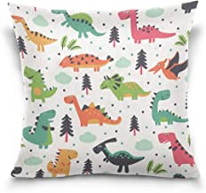 "MASSIKOA Dinosaur World Decorative Throw Pillow Case Square Cushion Cover 20"" x 20"" for Couch, Bed, Sofa or Patio - Only C..."