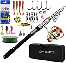 JSHANMEI Fishing Rod and Reel Combos Carbon Fiber Telescopic Fishing Rod with Reel Combo Sea Saltwater Freshwater Kit Fishing Rod Kit