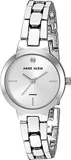 Anne Klein Women's AK/3235SVSV Diamond-Accented Silver-Tone Bracelet Watch